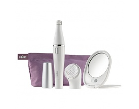 Brown Face 830 White Facial Epilator and Cleansing Brush