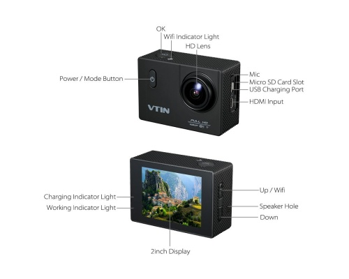DBPOWER VTIN 1080P HD αδιάβροχη 12MP action camera