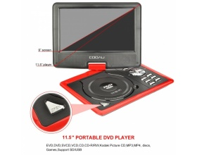 "DBPOWER 11,5"" ΦΟΡΗΤΟ DVD PLAYER COOAU RED"
