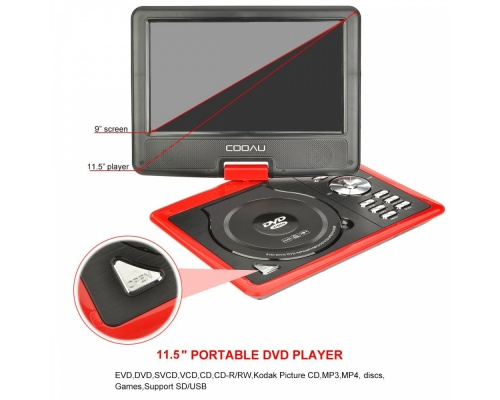 """DBPOWER 11,5"""" ΦΟΡΗΤΟ DVD PLAYER COOAU RED"""