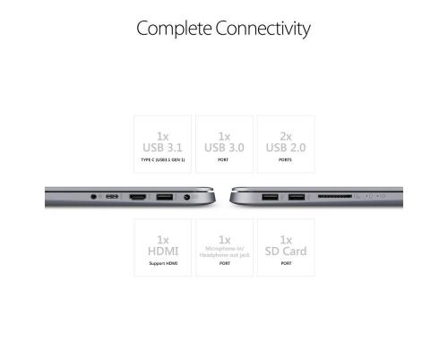 "Asus Vivobook S14 S410UA-BV050T 14"" (i3-7100U/4GB/128GBSSD/W10) Grey"