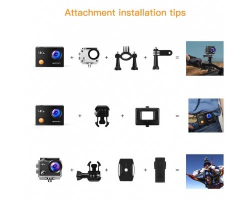 "Apeman A77 4K Action Camera 16MP WiFi Αδιάβροχη 30Μ 2"" Οθόνη, 170° Οπτικό Πεδίο"