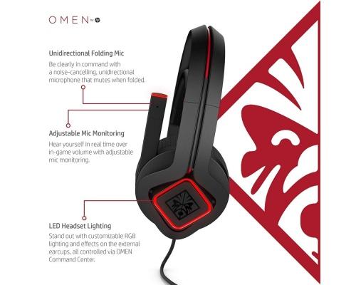HP Omen X Binaural Head-band Black,Red(3XT27AA