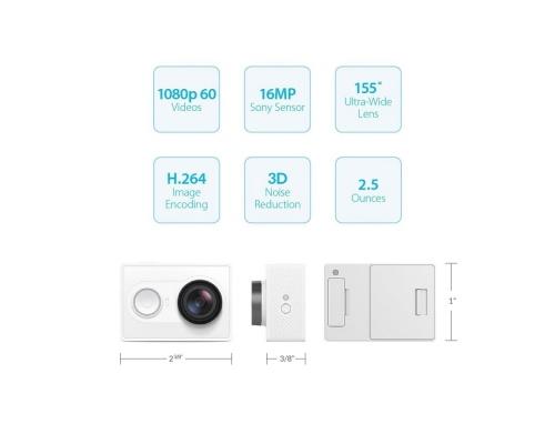 Yi Technology Basic Edition 1080P 16MP CMOS Sports Camera Camcorder with Wi-Fi & Bluetooth 4.0 - Λευκό