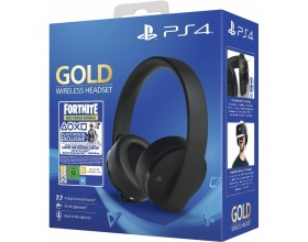 Sony Official PlayStation 4 Gold Wireless Headset - Black Fortnite Neo Versa Bundle PS4