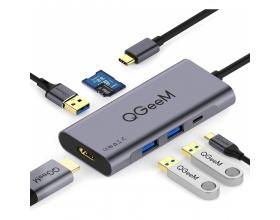 QGeeM 7 in 1 USB C Hub Multiport Adapter QGeeM01