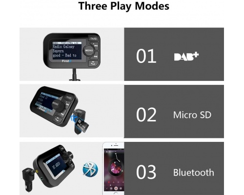 "FirstE DAB-105 Car Radio Adapter 2.3"" LCD Bluetooth FM Transmitter"